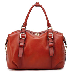 Infinity Leather Top Handle  Satchel Handbag - Red Handbags - Vicenzo Leather