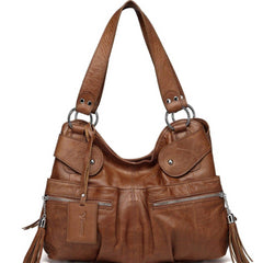 Athena Italian Leather Handbag - Dark Brown