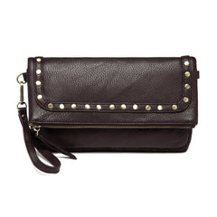 Francesca Leather Foldover Clutch Crossbody Handbag - Dark Brown