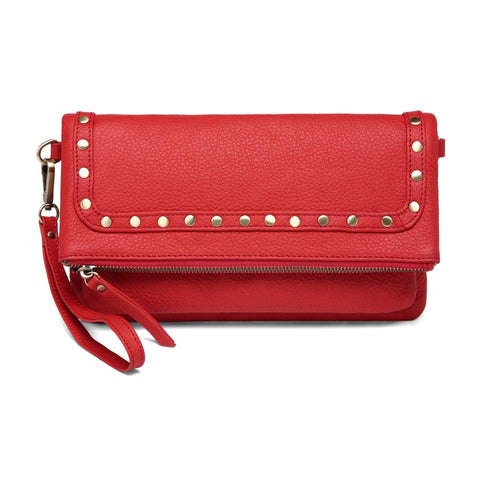 Francesca Leather Foldover Clutch Crossbody Handbag - Red Handbags - Vicenzo Leather - Designer
