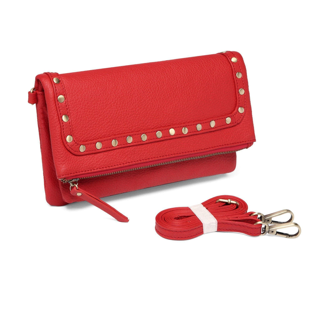 Francesca Leather Foldover Clutch /Crossbody - Red Handbags - Vicenzo Leather - Designer