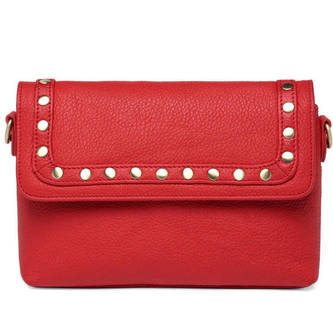 Angelique Pebble Leather Crossbody/Handbag - Red Handbags - Vicenzo Leather - Designer
