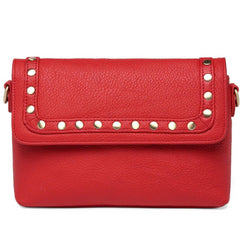 Angelique Pebble Leather Crossbody/Handbag - Red Handbags - Vicenzo Leather