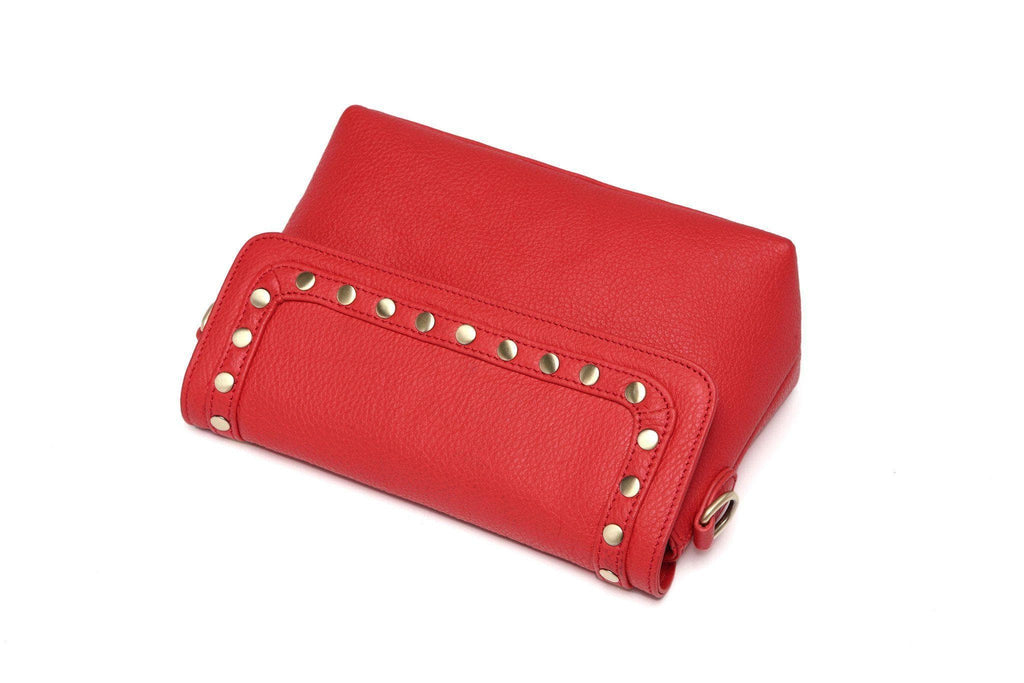 Angelique Pebble Leather Crossbody Bag - Red crossbody bag - Vicenzo Leather - Designer