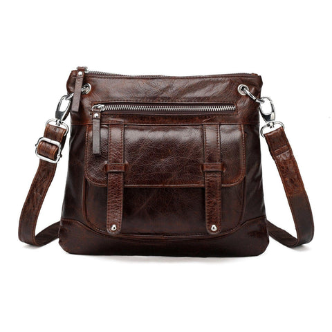 Ella Distressed Leather Crossbody / Handbag - Dark Brown Handbags - Vicenzo Leather - Designer