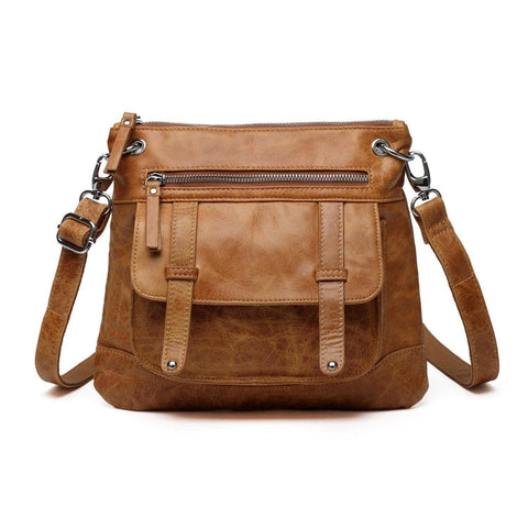 Ella Distressed Leather Crossbody / Handbag - Brown Handbags - Vicenzo Leather - Designer