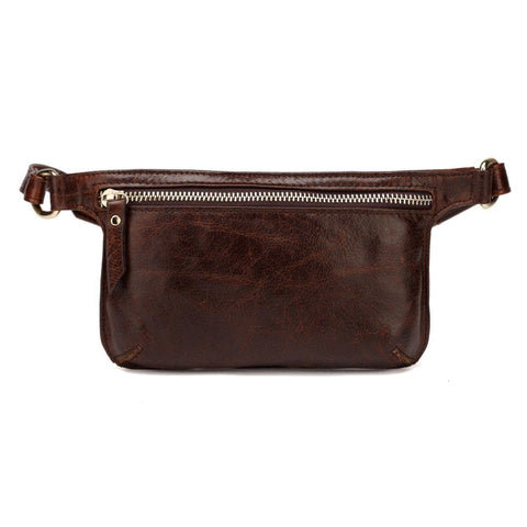 Mibel Distressed Leather Waist Pack/Crossbody - Dark Brown waist pack - Vicenzo Leather - Designer
