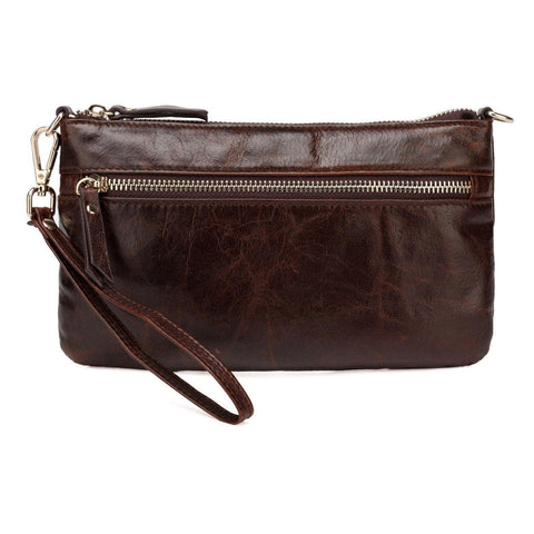Maci Distressed Leather Crossbody/Clutch - Dark Brown - Monogram Handbags - Vicenzo Leather - Designer