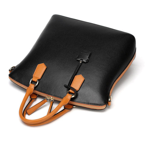 Delicio Top Handle Leather Handbag - Black Handbags - Vicenzo Leather - Designer