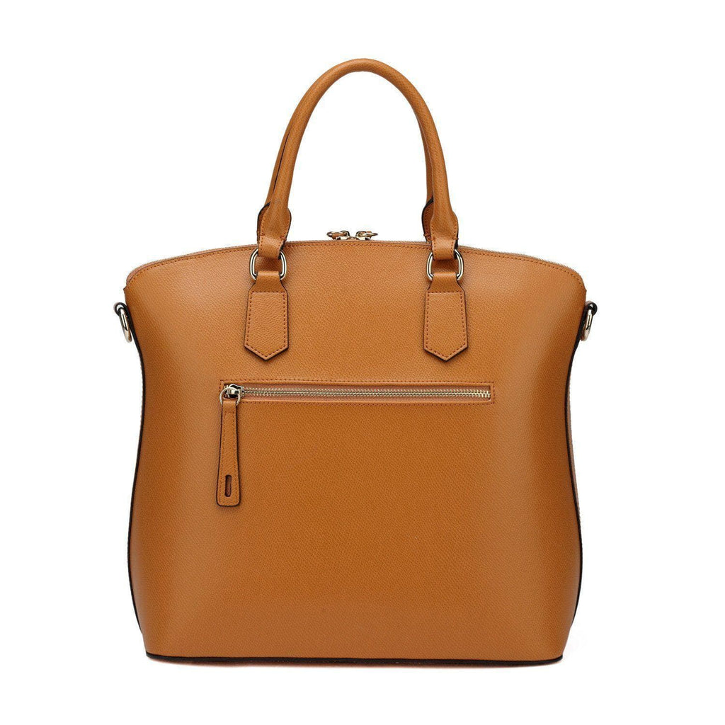 Delicia Top Handle Leather Handbag - Brown Handbags - Vicenzo Leather - Designer
