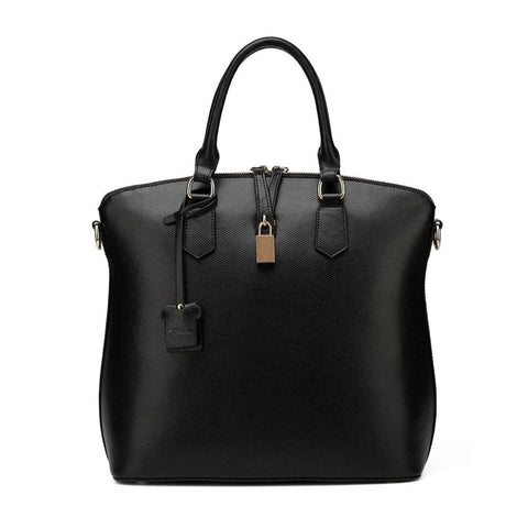Delicia Top Handle Leather Handbag - Black Handbags - Vicenzo Leather - Designer