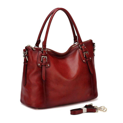 Ryder Leather Shoulder Tote Handbag - Red Handbags - Vicenzo Leather - Designer