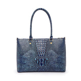 Valencia Croc Embossed Leather Handbag/Laptop Bag: Choco