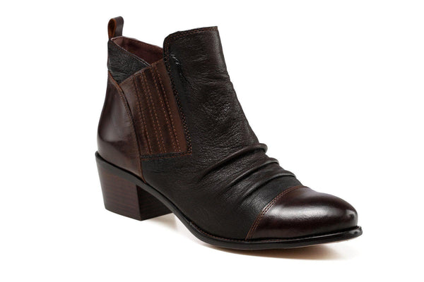 Ophelia Low Heel Ankle Leather Bootie - Dark Brown Women Shoes - Vicenzo Leather