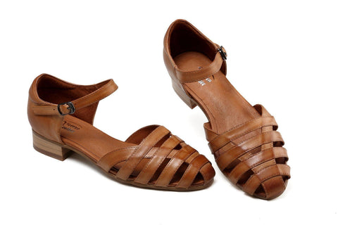 Charlene Flat Leather Sandals-Brown Women Shoes - Vicenzo Leather - Designer