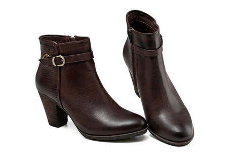 Sophia Low Heel Ankle Women Leather Boots - Dark Brown Women Shoes - Vicenzo Leather - Designer