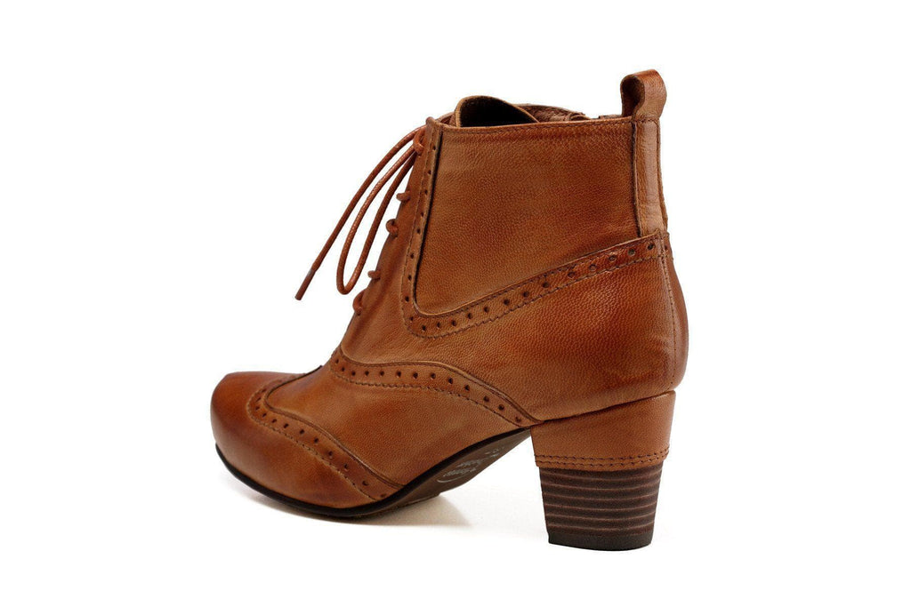 Isabella Chunky Low Heel Women Leather Booties-Brown Women Shoes - Vicenzo Leather - Designer
