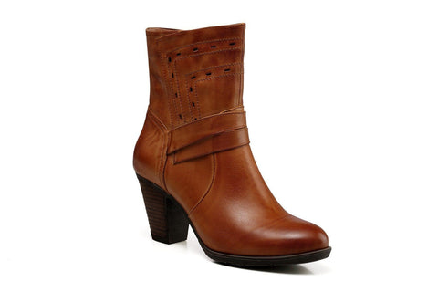 Ruby Chunky Heel Women Leather Boots- Brown Women Shoes - Vicenzo Leather - Designer