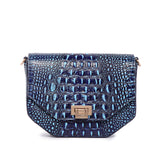 Alessia Croc Embossed Leather Handbag/ Crossbody bag: Blue
