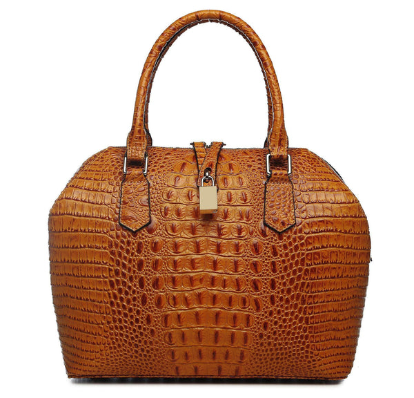 Diane Croc Embossed Tote Leather Handbag - Brown Handbags - Vicenzo Leather