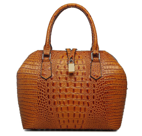 Diane Croc Embossed Tote Leather Handbag - Brown Handbags - Vicenzo Leather - Designer