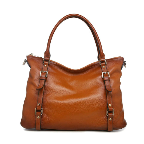 Callie Leather Shoulder Tote Handbag - Brown Handbags - Vicenzo Leather - Designer