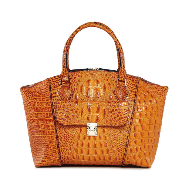 Carrina Croc Embossed Leather Handbag - Brown Handbags - Vicenzo Leather