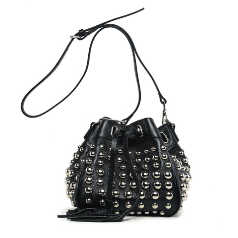 Jolyn Studded Leather Bucket Crossbody  - Black crossbody bag - Vicenzo Leather - Designer