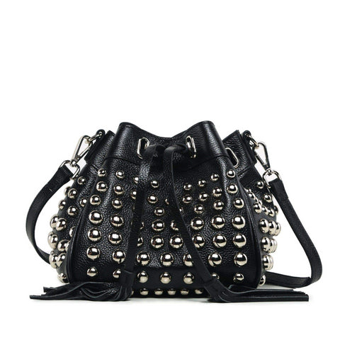 Jolyn Studded Leather Bucket Crossbody Bag - Black Handbags - Vicenzo Leather - Designer