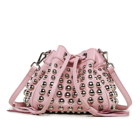 Jolyn Studded Leather Bucket Crossbody Bag - Pink Handbags - Vicenzo Leather - Designer