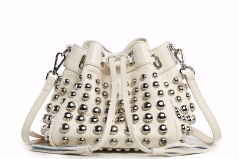 Jolyn Studded Leather Bucket Crossbody Bag - Beige Handbags - Vicenzo Leather - Designer