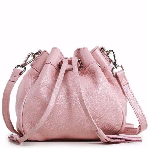 Jolie Mini Leather Bucket Crossbody Bag - Pink Handbags - Vicenzo Leather - Designer