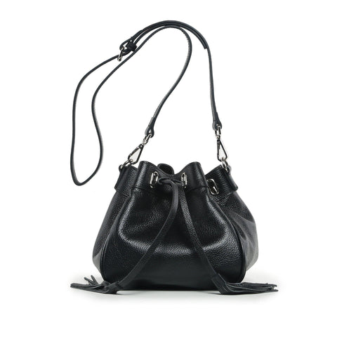 Jolie Mini Leather Bucket Crossbody Bag - Black Handbags - Vicenzo Leather - Designer