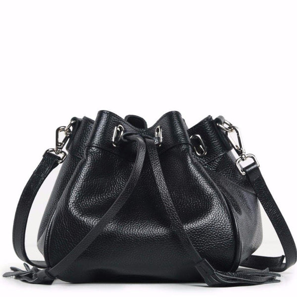 Jolie Mini Leather Bucket Crossbody Bag - Black Handbags - Vicenzo Leather