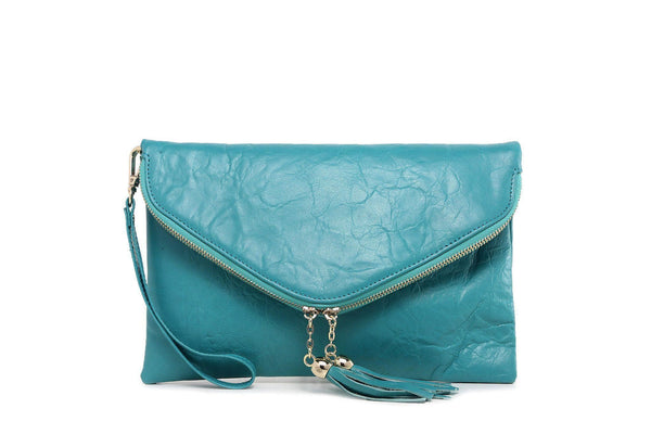 Cece Leather Crossbody/Clutch - Turquoise Handbags - Vicenzo Leather