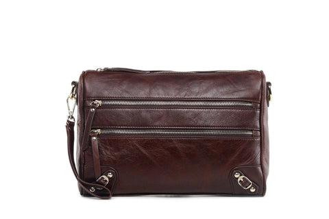 Esperance Leather Crossbody Clutch - Dark Brown Handbags - Vicenzo Leather - Designer