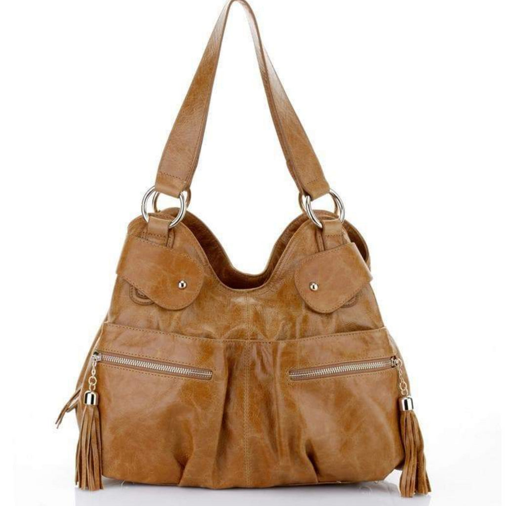 Athena Italian Leather Handbag - Tan Handbags - Vicenzo Leather - Designer aedfce12467bb