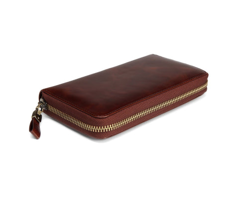 Seattle Distressed Leather Compact Wallet- Brown Wallets - Vicenzo Leather - Designer