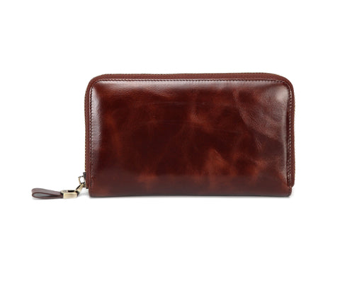 Seattle Distressed Leather Compact Wallet- Brown