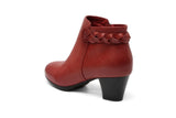 Brianna Leather Low Heel Bootie Women Shoes - Vicenzo Leather - Designer