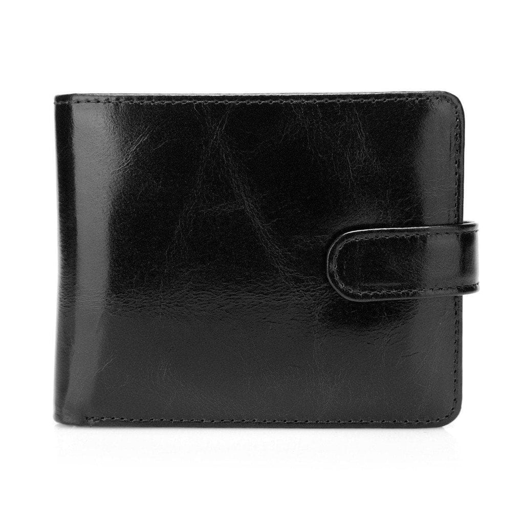 Pelotas Distressed Leather Trifold Mens Wallet with Snap Closure - Black Brown Mens Wallet - Vicenzo Leather - Designer