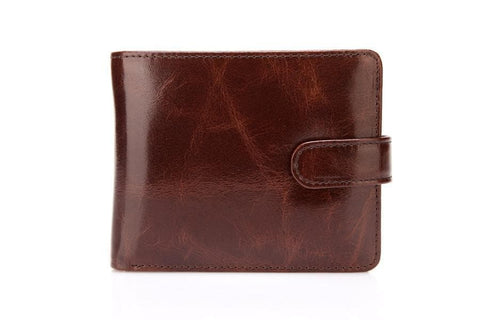 Pelotas Distressed Leather Trifold Mens Wallet with Snap Closure - Espresso Brown Mens Wallet - Vicenzo Leather - Designer
