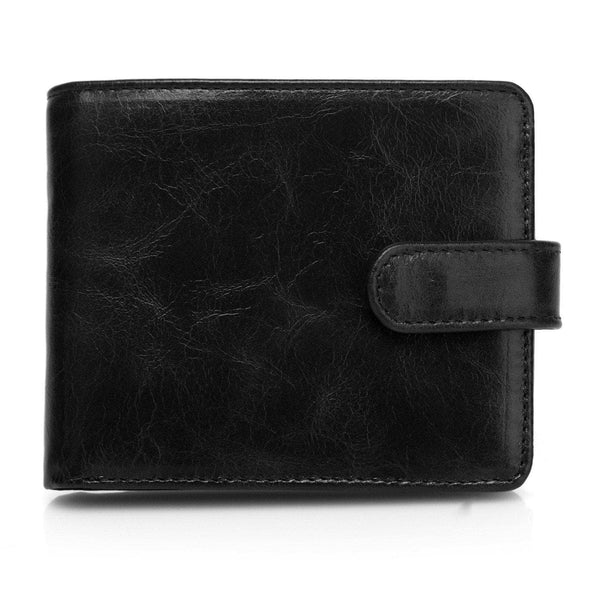 Pelotas Distressed Leather Trifold Mens Wallet with Snap Closure - Black Brown Mens Wallet - Vicenzo Leather