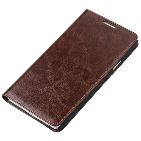Hudson Samsung Galaxy S6 Genuine Leather Folio Folding Wallet Case - Brown Tech Accessories - Vicenzo Leather - Designer