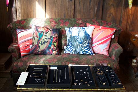 Cushions by Chloe Croft Jewellery by Jessica Poole and Ros Millar