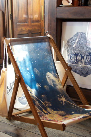 Ebony deckchair by Rosie Emerson, Lily Pond print and tote bags by Laurie Hastings