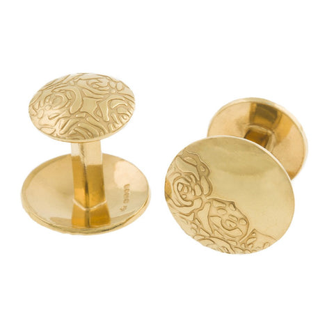 Silver Etched Roses Cufflinks with Gold, Sally Lees - CultureLabel - 1