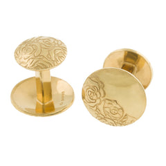 Silver Etched Roses Cufflinks with Gold, Sally Lees