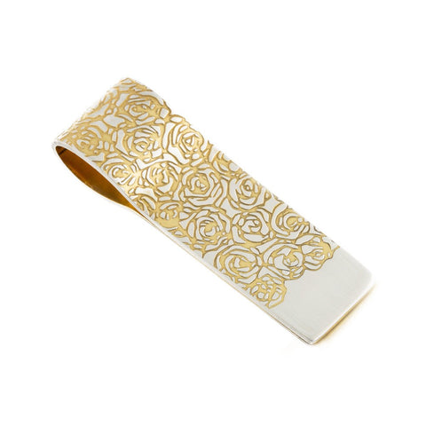 Silver and Gold Roses Money Clip, Sally Lees