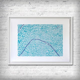 Map of Paris blue/dark blue, Ursula Hitz - CultureLabel - 1 (framed and hung)